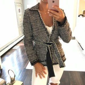 Ann Taylor Bouclè Italian fabric belted blazer 0